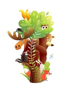 一緒に大きな木に座っている森の動物の友達。クマ、ヘラジカ、ウサギ、リス、その他の動物。子供のための楽しくてカラフルな野生動物と動物園の漫画。水彩風のベクトルデザイン。