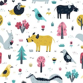スカンジナビアスタイルのイラストで森の動物のシームレスなパターン