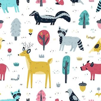 숲 동물 원활한 패턴