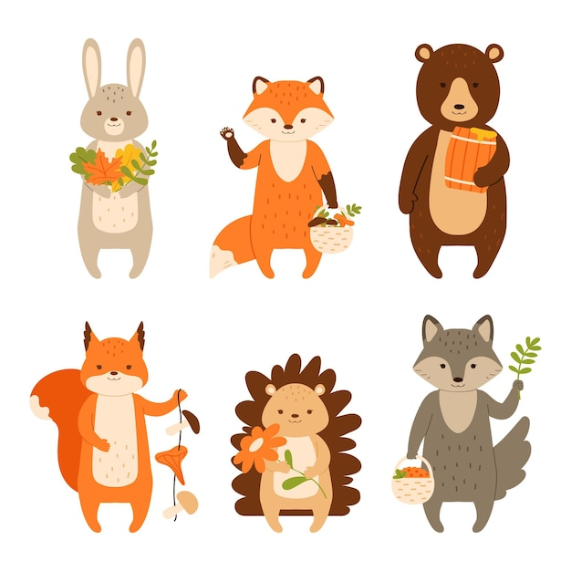 Woodland animals set characters isolated on white background vector illustration in flat style