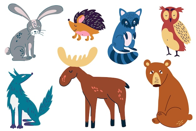 우드랜드 동물 세트입니다. 손으로 엘크, 늑대, 토끼, 곰, 너구리, 올빼미, 고슴도치를 그립니다. 스크랩북, 카드, 포스터, 태그, 스티커 키트에 적합합니다. 아이들을 위한 재미있는 만화 캐릭터. 벡터 일러스트 레이 션.