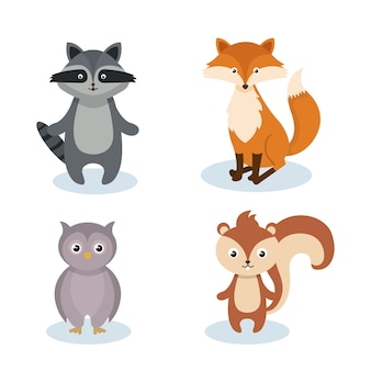 Woodland animals wild icon