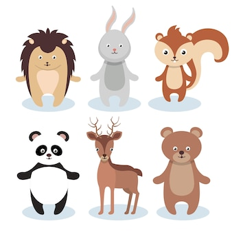 Woodland animals wild icon