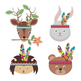 Woodland animals with feather crown