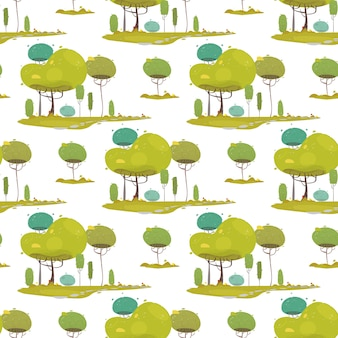Woodland craft seamless pattern with green trees