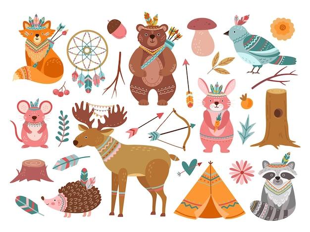 ウッドランドかわいい動物。部族のキツネ、森の冒険の子供動物。小さなクマの勇敢な鹿、赤ちゃんの保育園のベクトル図の羽の矢。キツネの部族の森、森林の野生生物、動物の民族