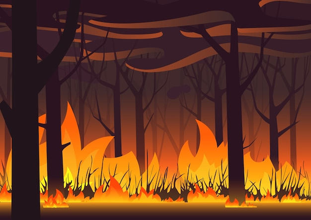 Woodland eco banner. fire in forest. wildfire landscape