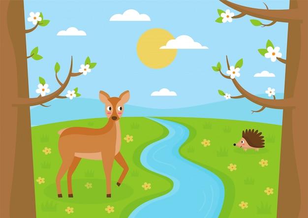 Лесной пейзаж весной. милый олень и ежик.