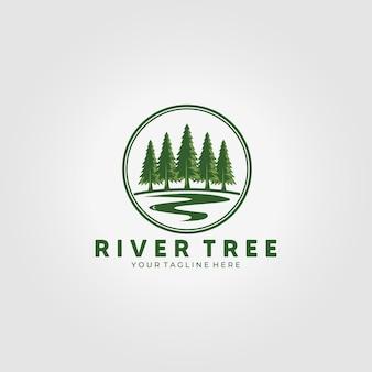 Лесной логотип реки сосны значок векторные иллюстрации дизайн винтажные