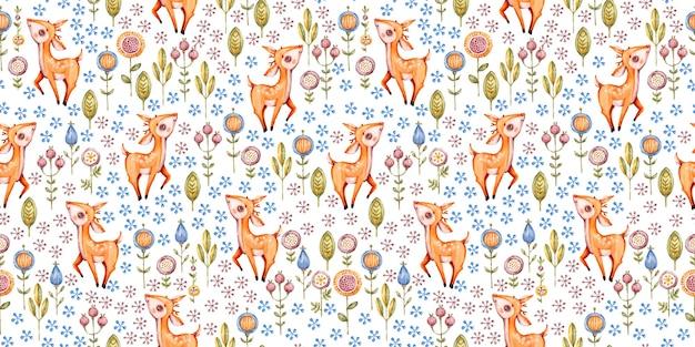숲 보육 수채화 원활한 패턴