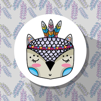 Woodland owl animal with feathers design