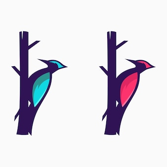 Дизайн логотипа животных дятел птица