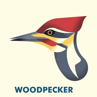 Woodpecker head flat halftone illustration