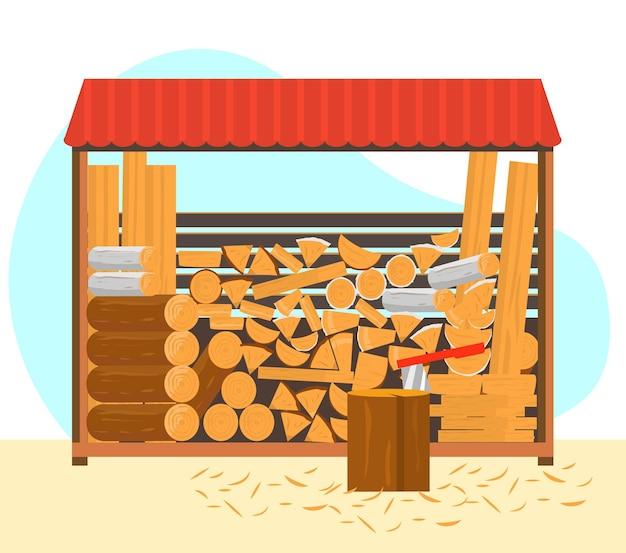 Поленницы с разными видами дров и досок. пень с топором с опилками.