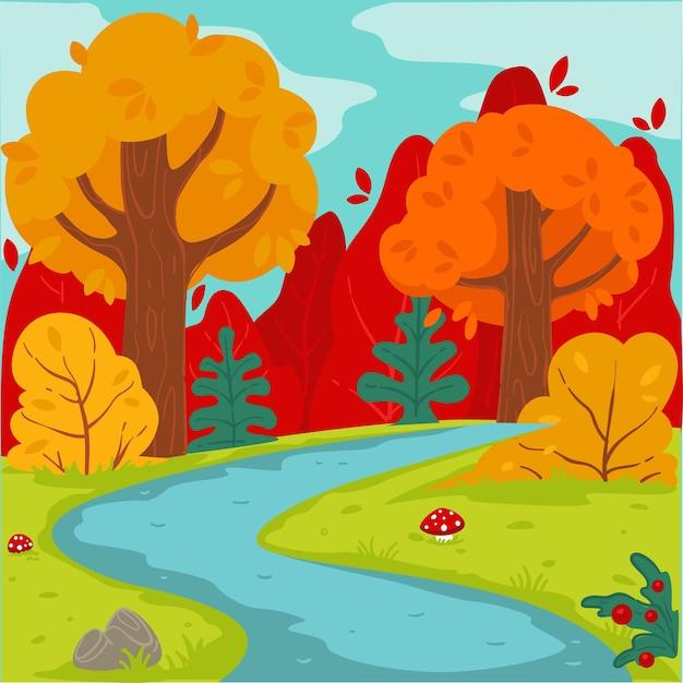 Лес в осенний сезон, лесной пейзаж с желтыми деревьями, кустами и травой с рекой осенью. на открытом воздухе природа, сельская местность или сельская местность. вне спокойствия композиция, вектор в плоском стиле
