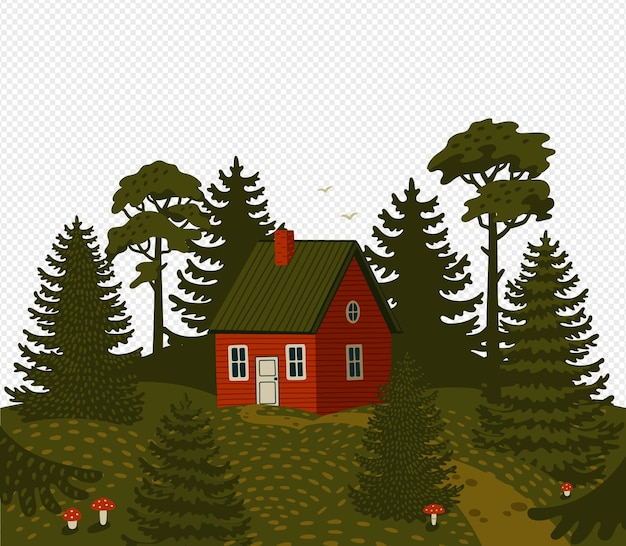 Woods landscape with red cabin