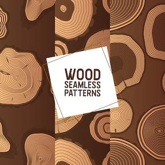 Woodseamless pattern wooden circle rings tree log lumbers logging trunks and hardwood timbered materials