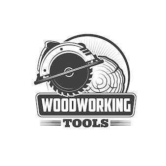 Столярные изделия, плотницкий столяр и символ значка инструмента лесопилка