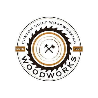 Логотип компании woodwork industries с концепцией пил, столярных изделий и винтажного стиля