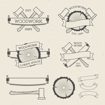 Woodwork label set with saw, ax and tree ring. posters, stamps, banners and design elements. isolated on white background. wood work and manufacture label templates. illustration.