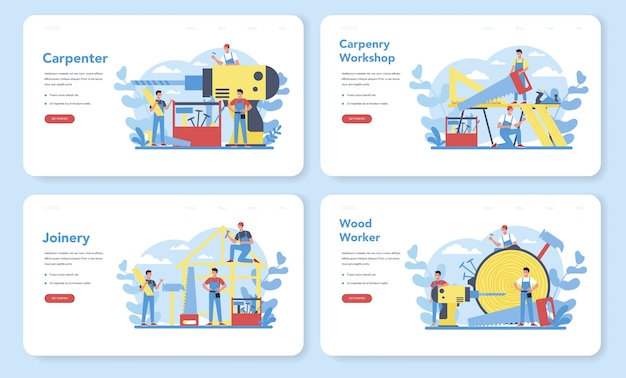 Woodworker or carpenter concept web banner or landing page set. builder wearing helmet and overalls with working with wood. joinery and carpenry workshop.