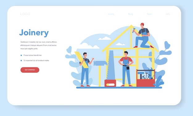 Woodworker or carpenter concept web landing page. builder wearing helmet and overalls with working with wood. joinery and carpenry workshop. isolated vector illustration
