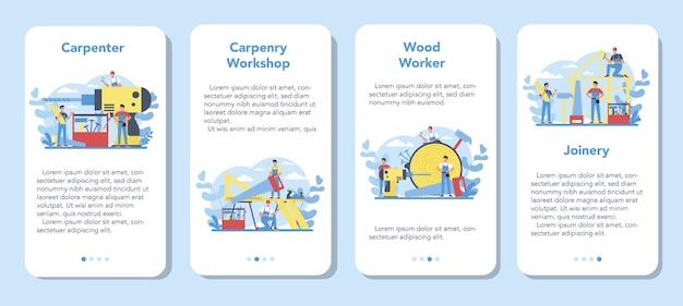 Набор баннеров мобильного приложения концепции плотника или плотника. строитель в каске и комбинезоне с работой с деревом. столярно-столярная мастерская.