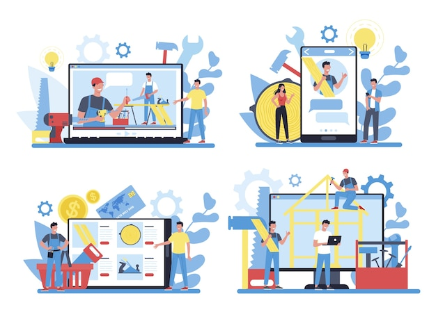 Онлайн-сервис или платформа плотника или плотника на различных концептуальных устройствах. столярная и столярная мастерская, консультации или обучение.