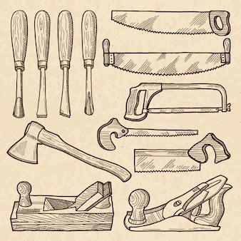 木工および大工道具。産業機器隔離。木工用の大工道具と設備