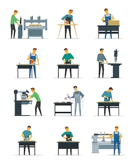 Woodworking carpentry polishing and painting flat icons collection