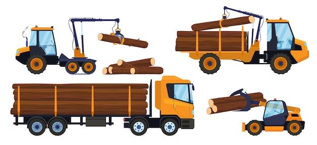 木工業。ロギングのためのトランスポート。積み込み、木材輸送。