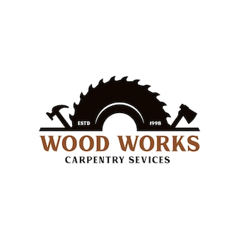 Woodworks industries company logo template