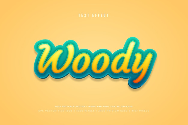 Woody 3d text effect on yellow background
