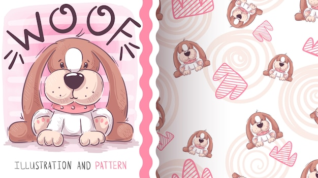 Woof teddy dog, seamless pattern