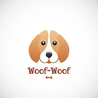 ウーフサインのエンブレムやロゴのテンプレート。フラットスタイルのコンセプトでかわいいビーグル犬の顔。ペットケアプログラム、店舗、ショップに最適です。