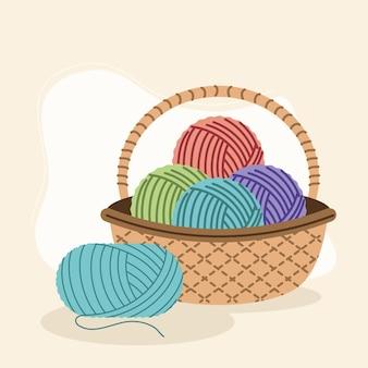 Wool balls in basket
