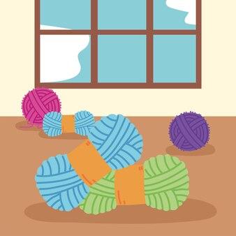 Wool balls yarn