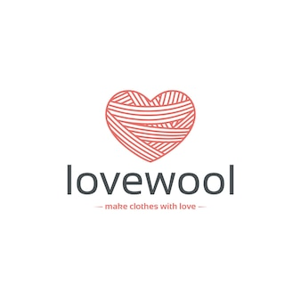 Wool heart logo template