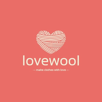 Wool heart negative space logo template
