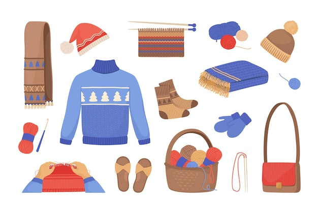Wool knitting. cartoon winter scarves mittens sweaters hats and socks, knitted clothes and accessories