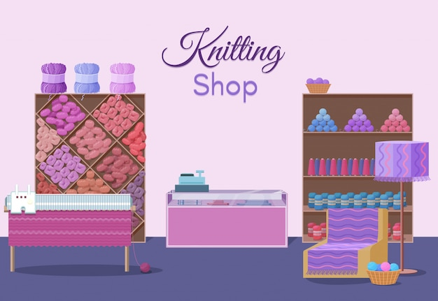 Wool shop interior template with yarn skeins