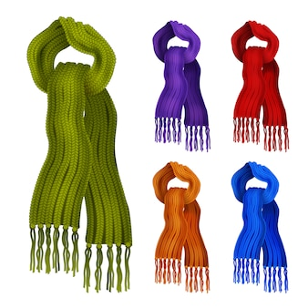 Woolen knitted scarfs in different colors decorative icons set