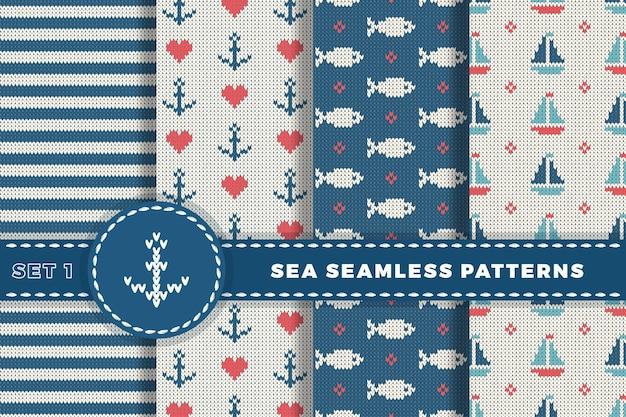 Шерстяные вязаные текстуры моря и морских фонов.