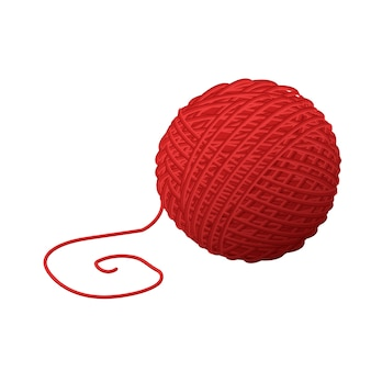 Woolen red ball yarn for knitting. traditional handicraft