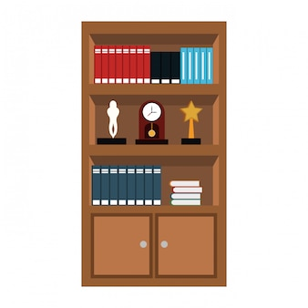 Woonde library with books vector illustration graphic design