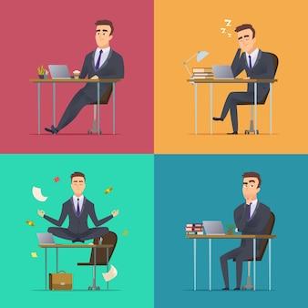 ビジネスマンのシーン。オフィスマネージャーやディレクターのさまざまなポーズの机の仕事に座って寝ている瞑想瞑想worルーチンコンセプト
