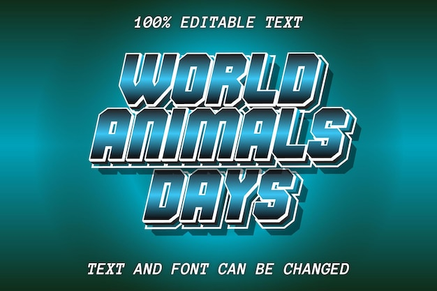 Word animal day editable text effect retro style