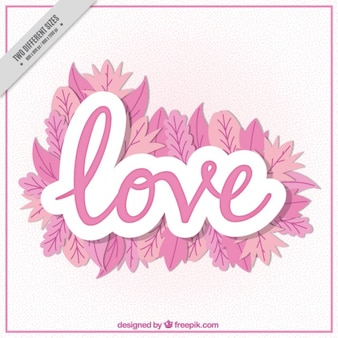Word Background Love With Pink Leaves