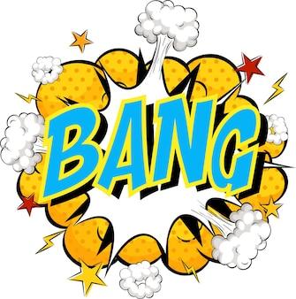 Word bang sullo sfondo di un'esplosione di nuvole a fumetti Vettore gratuito