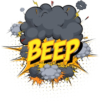 Word beep on comic cloud explosion background